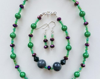 Green Purple and Grey Necklace Bracelet and Earring Set, Green Necklace, Purple Bracelet, Grey Necklace, Purple Set, Grey Set, Green Set