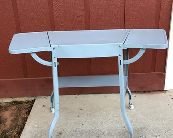 Vintage Gray Metal Typewriter Table with Leaves Rolling Bar Cart Side or Media Table Industrial