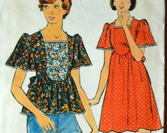 Uncut 1970s Butterick Vintage Sewing Pattern 3827, Size 8; Misses' Dress and Top