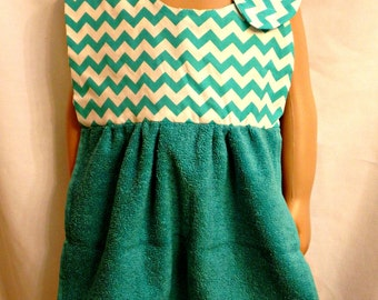 Toddler Bib Big Kid Bib Shirt Saver Teal and White Zigzag Stripes with 2 snap closure for girl or boy Aprox 21 inches long x 11 inches wide