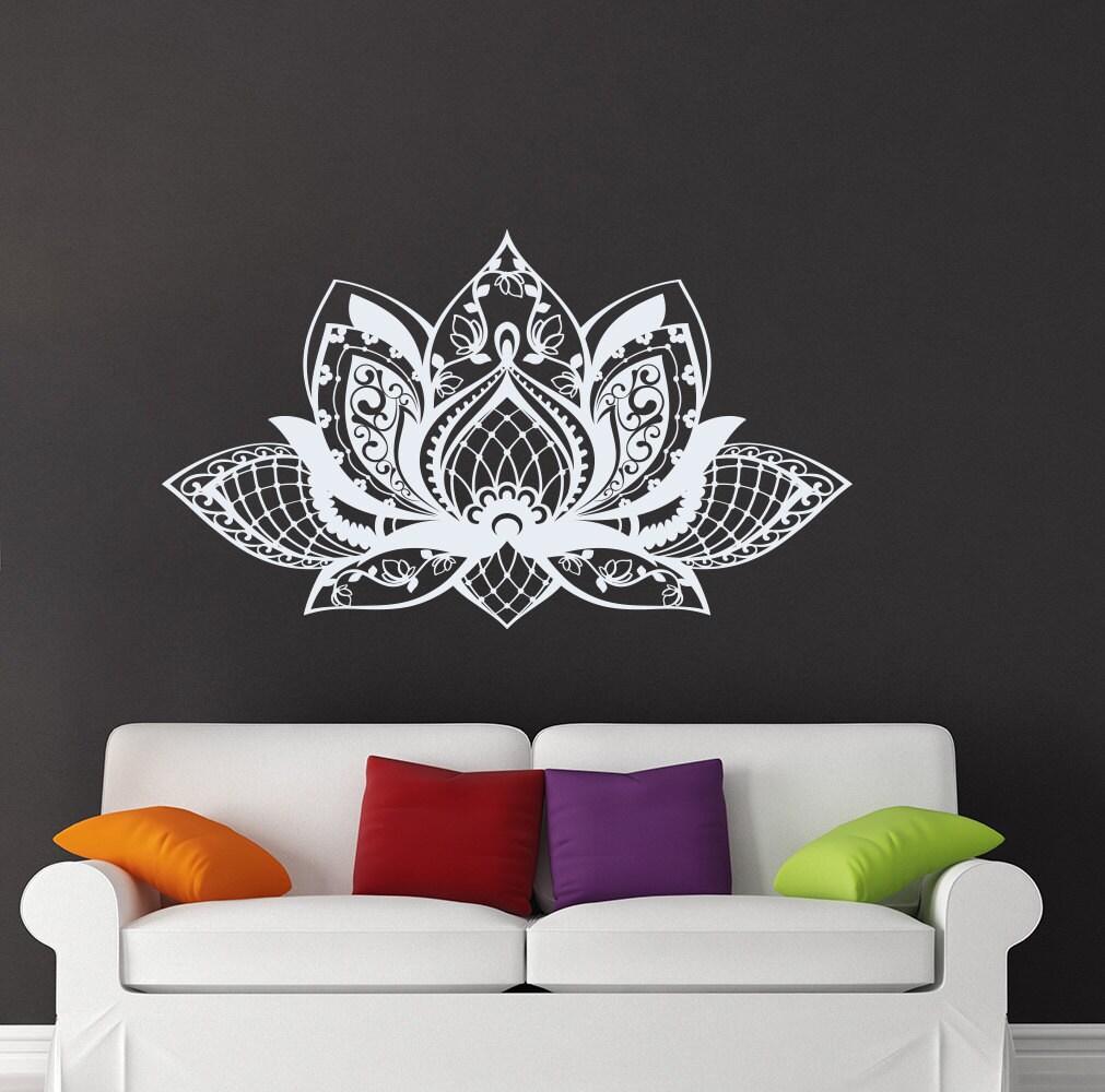Lotus wall decal yoga studio vinyl sticker mandala decals - Wandtattoo orientalisch ...