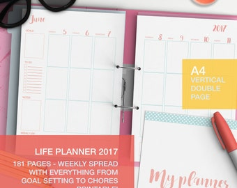 Personal planner 2017 - A4 weekly planner - weekly agenda 2017 - expense tracker - A4 planner pages
