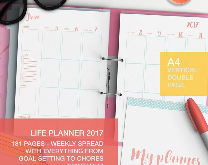Featured listing image: Personal planner 2017 - A4 weekly planner - weekly agenda 2017 - expense tracker - A4 planner pages