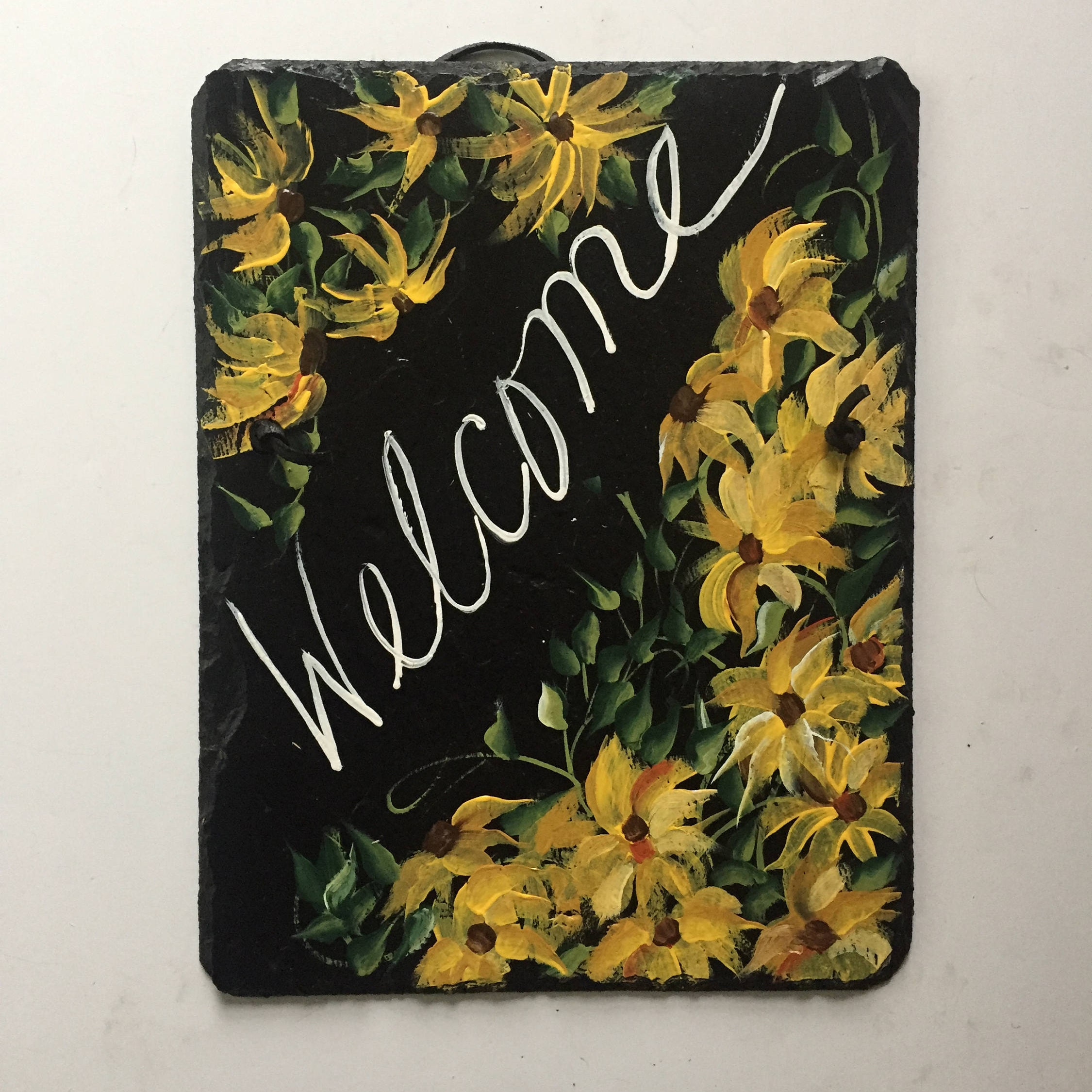 yellow daisies slate welcome sign, 12 x 9 painted slate, door