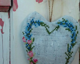 Lavender Sachet - Cross Stitch Lavender Bag - Organic Home Fragrances - Heart Sachet -  Wedding Favors - Lavender Heart -  Party Favors