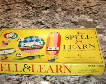 1961 Spell & Learn Game//For Children Learning to Spell//Made by Golden Press//Vintage Children's Game