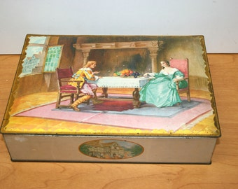 Uneeda Biscuit Large Tin//18th Century Scene//National Biscuit Company//Vintage Large Tin