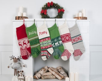 Personalized Christmas Stockings Green Red White Knitted