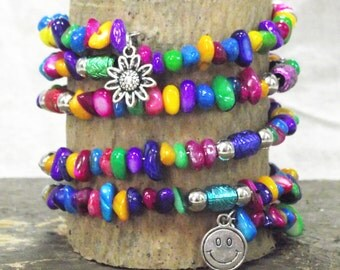 Colorful Natural Stone and Silver 5 Loop Memory Wire Bracelet With Silver-tone Charms of a Smiley Face and a Sunflower