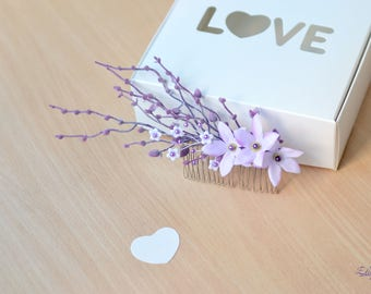Wedding comb hair lilac branches hair comb flower purple head piece Rustic bridal comb Woodland hair vine pearl purple hair back