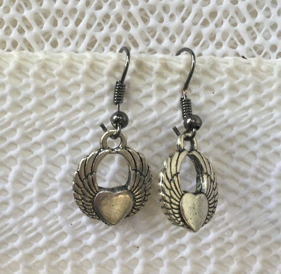 Angel Wings or Harley Davidson, symbol Antique Silver Earrings