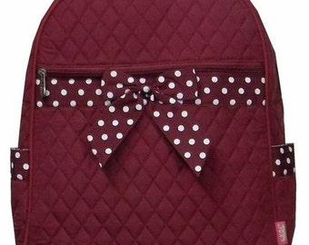 Maroon Quilted Backpack - Free Monogram