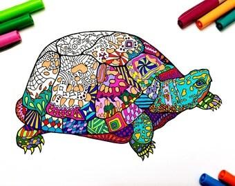Box Turtle - PDF Zentangle Coloring Page