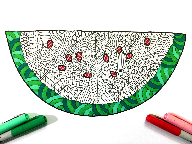watermelon pdf zentangle coloring page