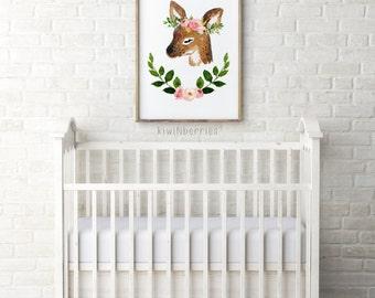 Woodland nursery decor - Baby girl nursery art - Laurel floral deer print - Watercolor wall art - Nursery printables - Boho nursery art