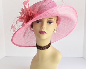 L17 New Kentucky Derby, Church, Wedding, Easter, Tea Party Wide Brim with feather flower Sinamay Hat ( Pink )