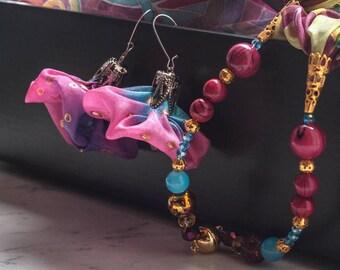 Hand-painted Silk Earrings