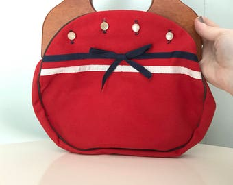 1960s Banner House Red Canvas Purse | 60s Bright Red Handbag with Blue and White Trim | Vintage Retro Wooden Handle Bag with Bow and Buttons