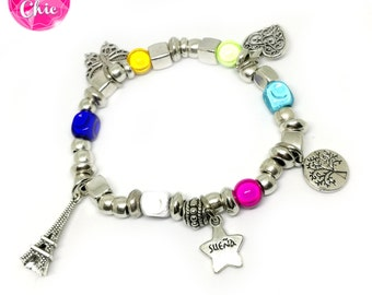 Bracelet silver with accounts Rainbow