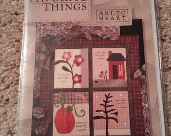 My Favorite Things #136 by Nancy Halvorsen - Art to Heart - Seasonal Quilt Applique - Uncut Stitchery Pattern