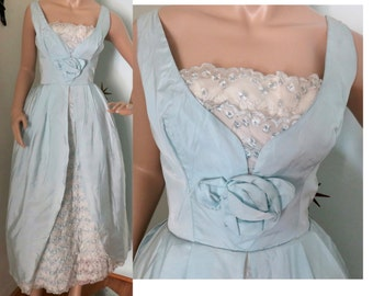 Vintage 1950s baby blue scalloped lace party prom formal dress small 244