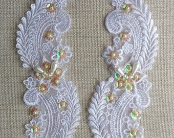 2 X Beaded sequined Venice Lace Applique.