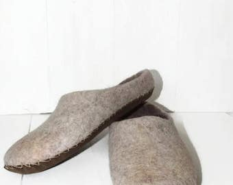 Felted Slippers Wool Slippers Beige Winter Slippers Warm Slippers Cozy Slippers Men Slippers Eco Slippers Woolen Home Shoes Grey Slippers
