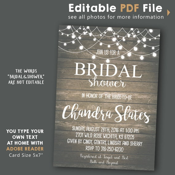 Rustic String Lights Bridal Shower Invitation