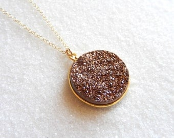 Rose Gold Titanium Druzy Necklace 18K Gold Vermeil Crystal Quartz Pendant Gold Filled Chain Free Shipping OOAK Jewelry