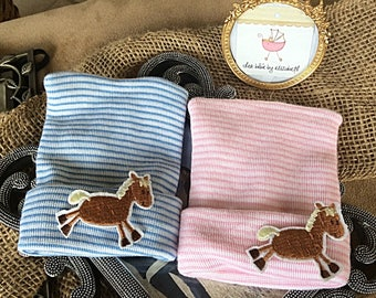 Twin horse Hospital Newborn Beanies, free gift wrap, infant, Newborn, brown horse hat,  boy blue striped beanie, girl pink striped Hat.