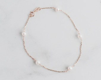 14k Freshwater Pearl Station Bracelet | Beautiful Unique Wedding Jewelry | White or Yellow Gold Handmade Tincup Delicate Pearl Bridal