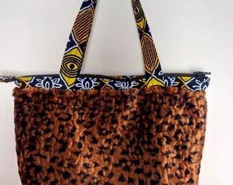 Small style Tote handbag, fake fur and wax
