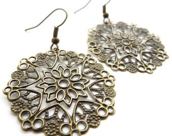 Statement mandala earrings, Bronze filigree earrings, Boho style jewellery, Mandala jewellery, Statement earrings, Festival jewellery, Boho