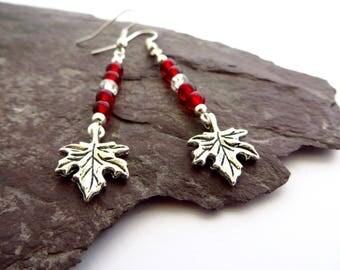 Canadian Maple leaf earrings, O Canada, Canada Day jewellery, leaf dangle earrings, Canadian flag jewelry, red and white dangle earrings