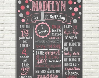 "Girls First Birthday Chalkboard Sign 16x20"" Poster Dots Pink Silver Digital File ONLY"