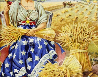 seeds_catalogs-06122 - Woman in patriotic Dress, USA flag, Wheat, field blue stars US vintage printable picture magazine cover harvest image