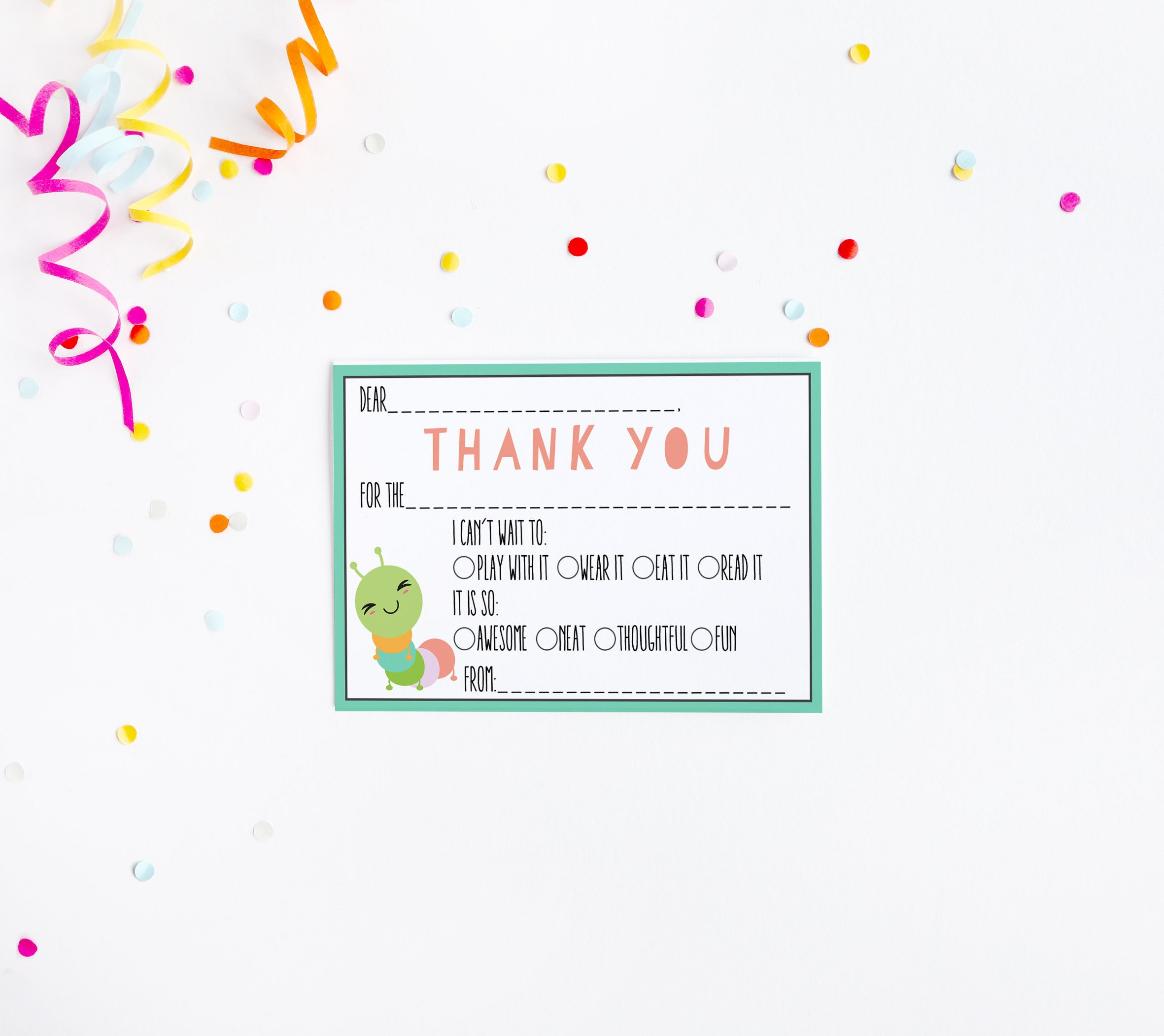 Caterpillar Fill in the Blank Thank You Card Birthday Party Baby
