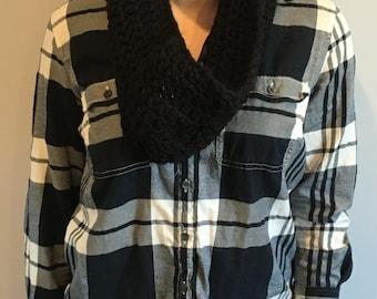 Black Crochet Cowl Scarf