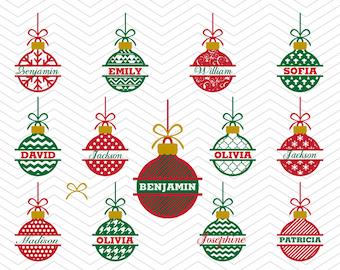 Christmas Balls Split Patterned Ornaments Frames DXF SVG PNG eps Winter Holidays Cut File Cricut Design, Silhouette studio, vinyl decal
