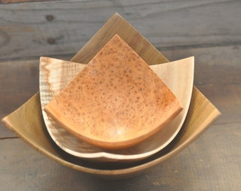 580 Contemporary Nested set of three-point bowls: Lignum Vitea, Ambrosia Maple and highly figured Amboyna burl