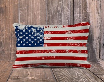 USA Flag pillow, American Flag Pillow, Vinatge look USA Flag, patriotic pillow, 4th of July decoration, Patriotic Gift, Veterans Gift