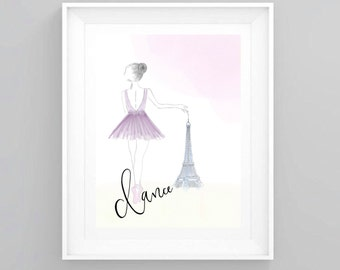 Paris art print / Ballet art print / Letter art print / Watercolour artwork.