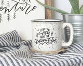 White camp mug . first the coffee then the adventures . campfire mug . hand lettered . mountains . ceramic mug . coffee . tea .