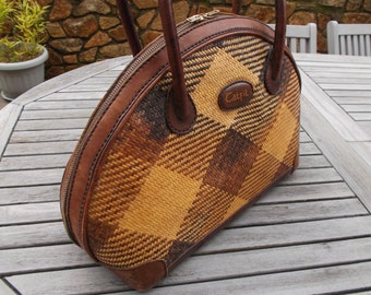 handbag Bohemian chic leather and straw - Bohemian chic leather and straw handbag