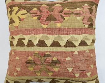 Handmade turkish kilim cover cushion 16'x16' muted tones pale colors