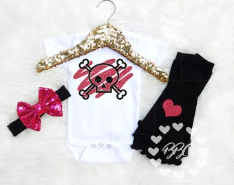 Baby Girl Clothes, Skull and Crossbones, Goth Baby, Baby Girl Clothing, Unique Baby Clothing, Pink and Black, Bodysuits, One Piece, Opt Set