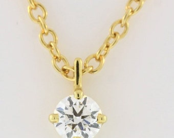 Solitaire Diamond Chained Necklace- 18k Yellow Gold