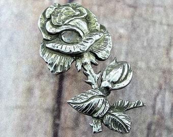 Vintage Large Rose Branch Pin Brooch- Sterling Silver