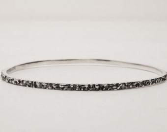 Textured Bangle - Thin Silver Lava Bangle