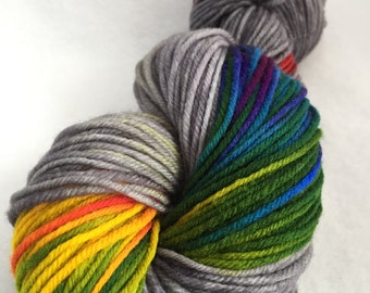 Rainbow color burst on gray worsted weight yarn // Silver Lining